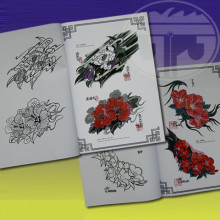 Women Flower Tattoo Flash